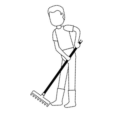 man gardener with rake avatar character vector illustration design Reklamní fotografie - 94984733