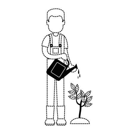 man gardener with sprinkler avatar character vector illustration design 向量圖像