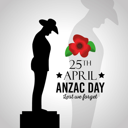 Anzac day lest we forget vector illustration Çizim