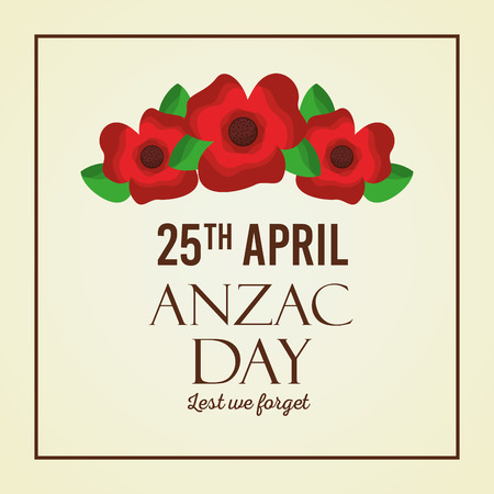 Anzac day lest we forget red flowers card vector illustration Illustration