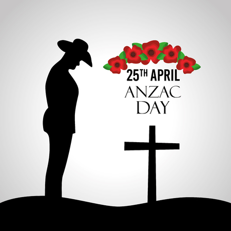 Anzac day celebration greeting card silhouette soldier cross anniversary vector illustration