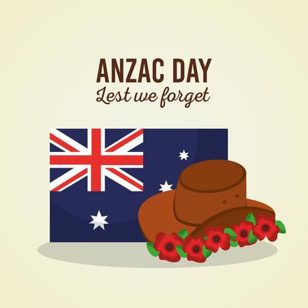 Anzac day lest we forget Australian flag hat flowers symbol vector illustration 向量圖像