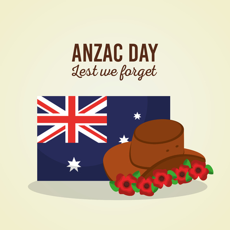 Anzac day lest we forget Australian flag hat flowers symbol vector illustration Illustration