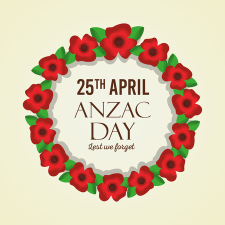 Anzac day lest we forget flower wreath natural decoration honor celebration vector illustration