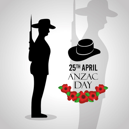 Anzac day celebration card memory national vector illustration
