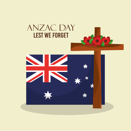 Anzac day lest we forget Australian flag and cross floral decoration vector illustration