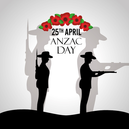 Anzac day celebration poster patriotic soldier national memory vector illustration