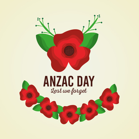 Anzac day lest we forget card floral ornament vector illustration