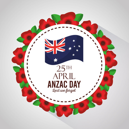 anzac day lest we forget badge flowers border decoration vector illustration