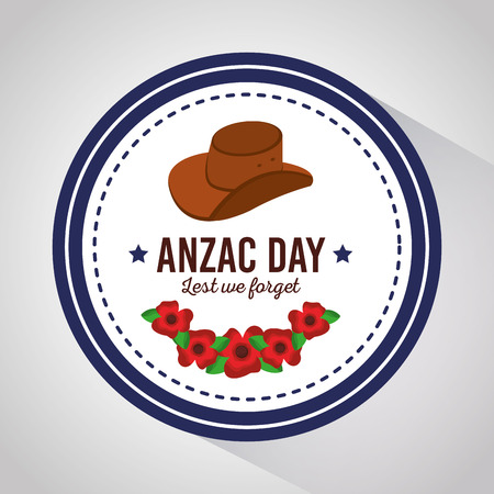 anzac day lest we forget badge with hat and flowers design vector illustration