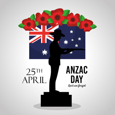 anzac day lest we forget poster soldier in podium flag anniversary vector illustration