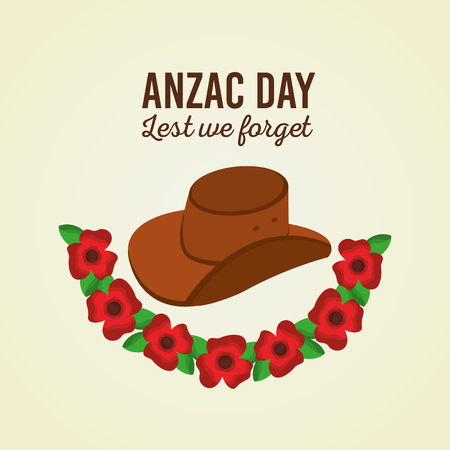 Anzac day lest we forget poster hat and flowers vector illustration