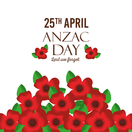 anzac day lest we forget greeting card red flowers decoration vector illustration