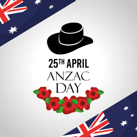 anzac day celebration card flags australian hat commemoration vector illustration Ilustrace