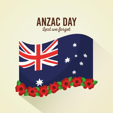 anzac day lest we forget poster flag flowers celebration vector illustration Illustration