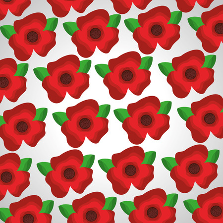 Seamless pattern red flowers leaves decoration vector illustration. Ilustração