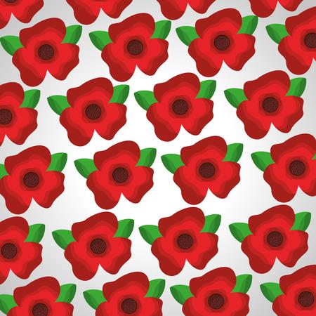Seamless pattern red flowers leaves decoration vector illustration. Illustration