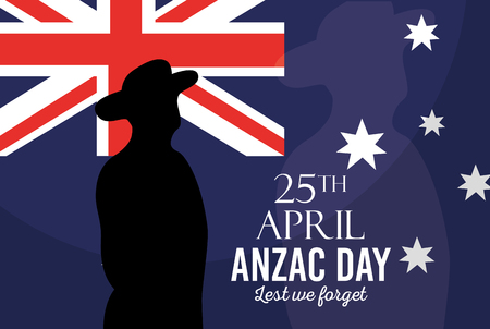Australian flag soldier poster anzac day lest we forget vector illustration.