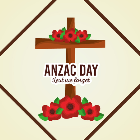anzac day lest we forget cross decoration floral poster vector illustration