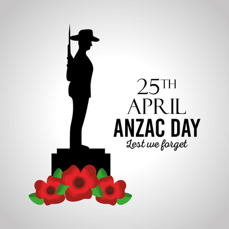 anzac day lest we forget card memory celebration patriotism vector illustration