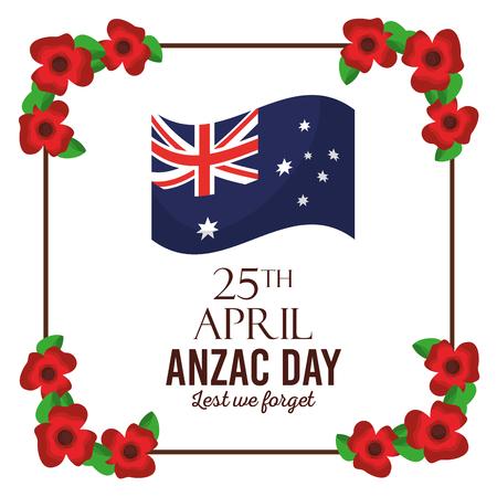 anzac day lest we forget poster invitation flag frame floral decoration vector illustration