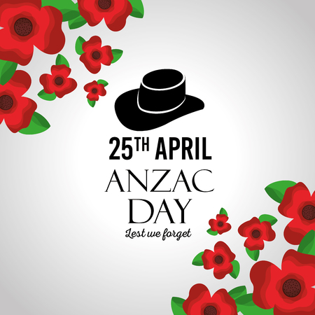 anzac day lest we forget greeting card celebration memorial vector illustration