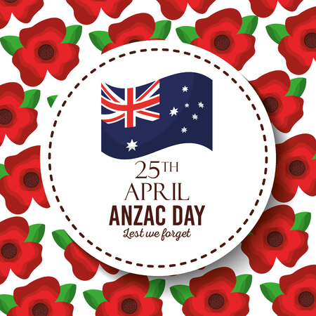 anzac day lest we forget badge australian flag red flower background vector illustration