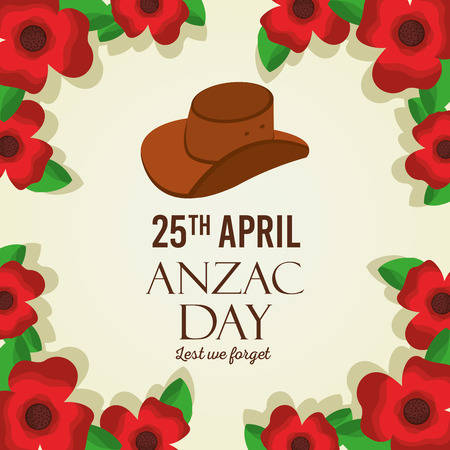 anzac day lest we forget card remembrance memorial national vector illustration