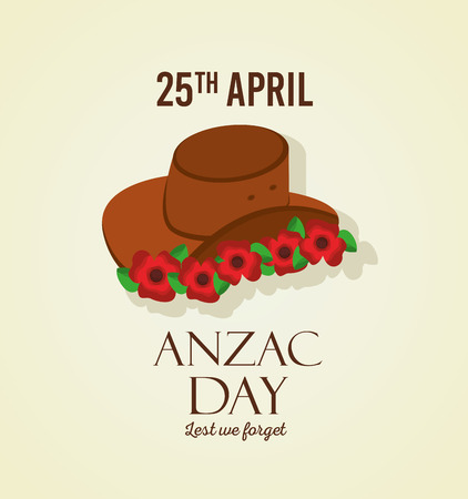 anzac day lest we forget 25 april hat and flowers decoration vector illustration