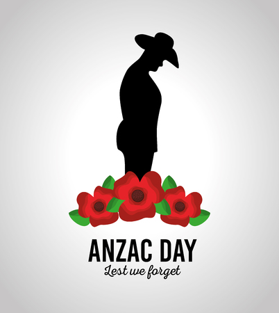 anzac day lest we forget patriotism national celebration card vector illustration