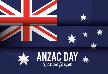 australian flag with anzac day lest we forget lettering celebration vector illustration