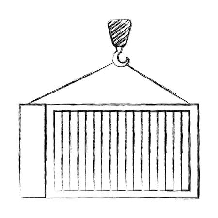 crane hook lifting container vector illustration design