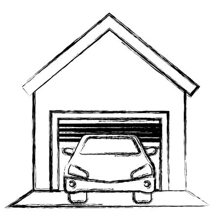 garage building with car vector illustration design Illusztráció