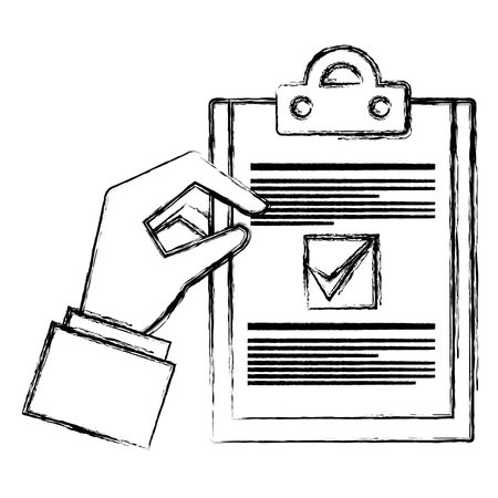 hand with checklist document isolated icon vector illustration design Ilustrace