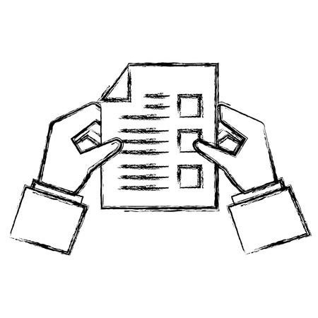 Hands with paper document icon