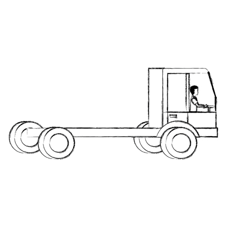 Delivery truck vehicle with driver Illustration