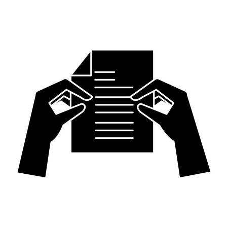 hands with paper document isolated icon vector illustration design