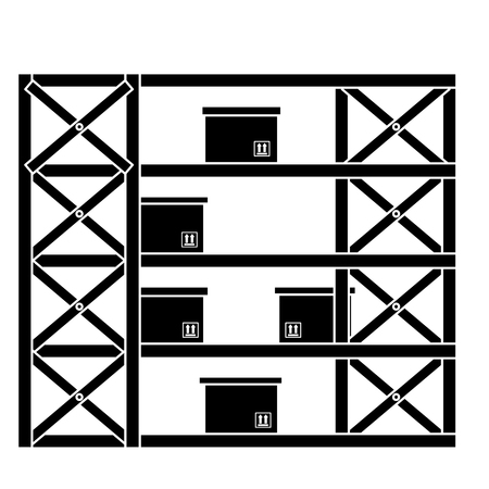 shelving warehouse with boxes vector illustration design Stock Vector - 95315148