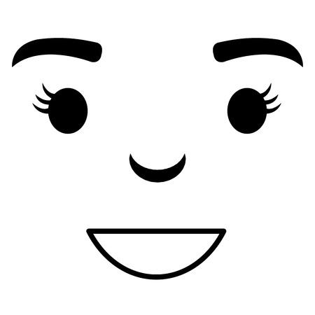 face emoticon kawaii character vector illustration design