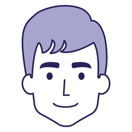 Young man head avatar character vector illustration design