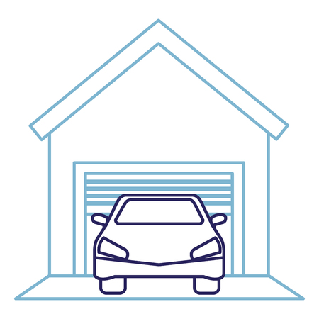 garage gebouw met auto vector illustratie ontwerp