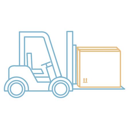 Forklift vehicle with box vector illustration design. Illustration