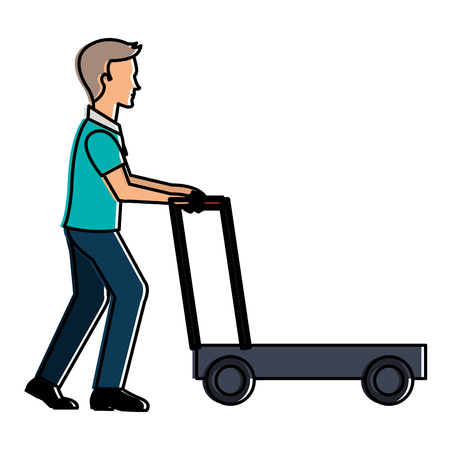 Delivery worker with cart avatar character vector illustration design