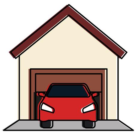 Garage building with car vector illustration design