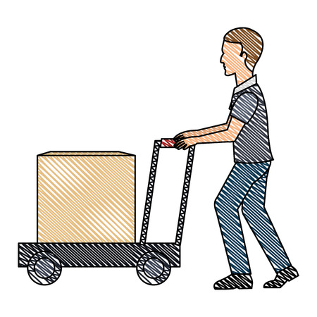Delivery worker with cart avatar character vector illustration design.