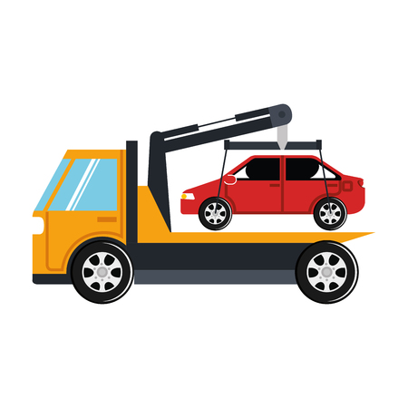 Illustration of car in truck icon Çizim