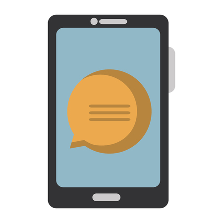 Smartphone device with speech bubbles vector illustration design Illustration
