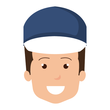Delivery worker head avatar character vector illustration design