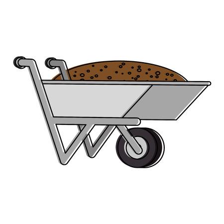 Illustration of wheelbarrow with ground icon
