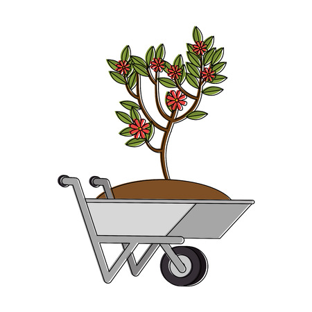 Illustration of wheelbarrow with ground and plant icon